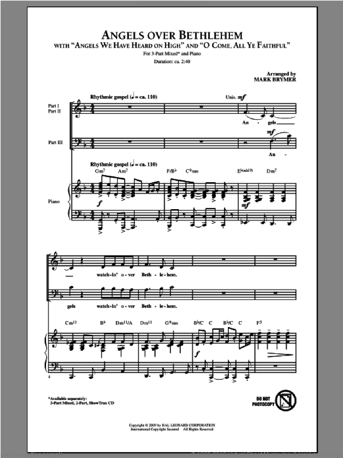 Angels Over Bethlehem sheet music for choir (chamber ensemble) by Mark Brymer, intermediate. Score Image Preview.