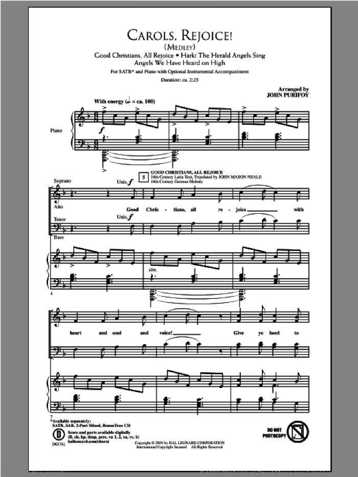 Carols, Rejoice (Medley) sheet music for choir (SATB) by John Purifoy, intermediate. Score Image Preview.
