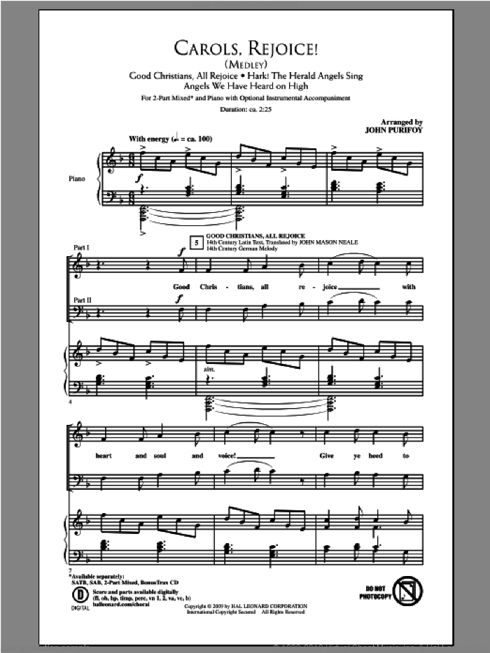 Carols, Rejoice (Medley) sheet music for choir and piano (duets) by John Purifoy. Score Image Preview.