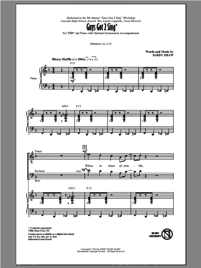 Guys Got To Sing sheet music for choir (TBB: tenor, bass) by Kirby Shaw, intermediate. Score Image Preview.