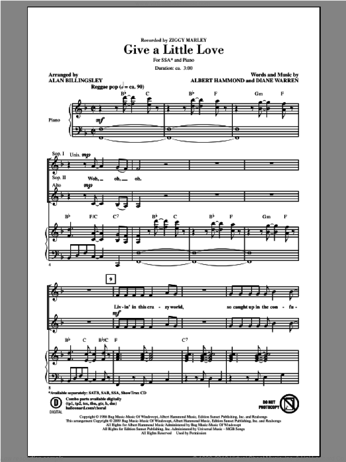 Give A Little Love sheet music for choir and piano (SSA) by Alan Billingsley and Ziggy Marley. Score Image Preview.