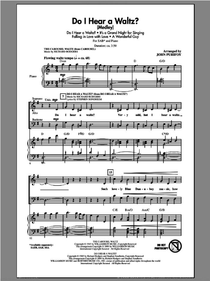 Do I Hear A Waltz? sheet music for choir (SAB: soprano, alto, bass) by John Purifoy, intermediate skill level