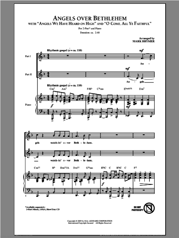 Angels Over Bethlehem sheet music for choir (duets) by Mark Brymer. Score Image Preview.