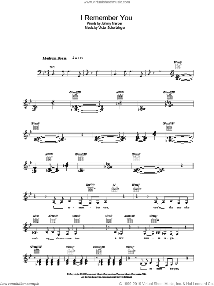 I Remember You sheet music for voice and other instruments (fake book) by Victor Schertzinger, Diana Krall and Johnny Mercer. Score Image Preview.