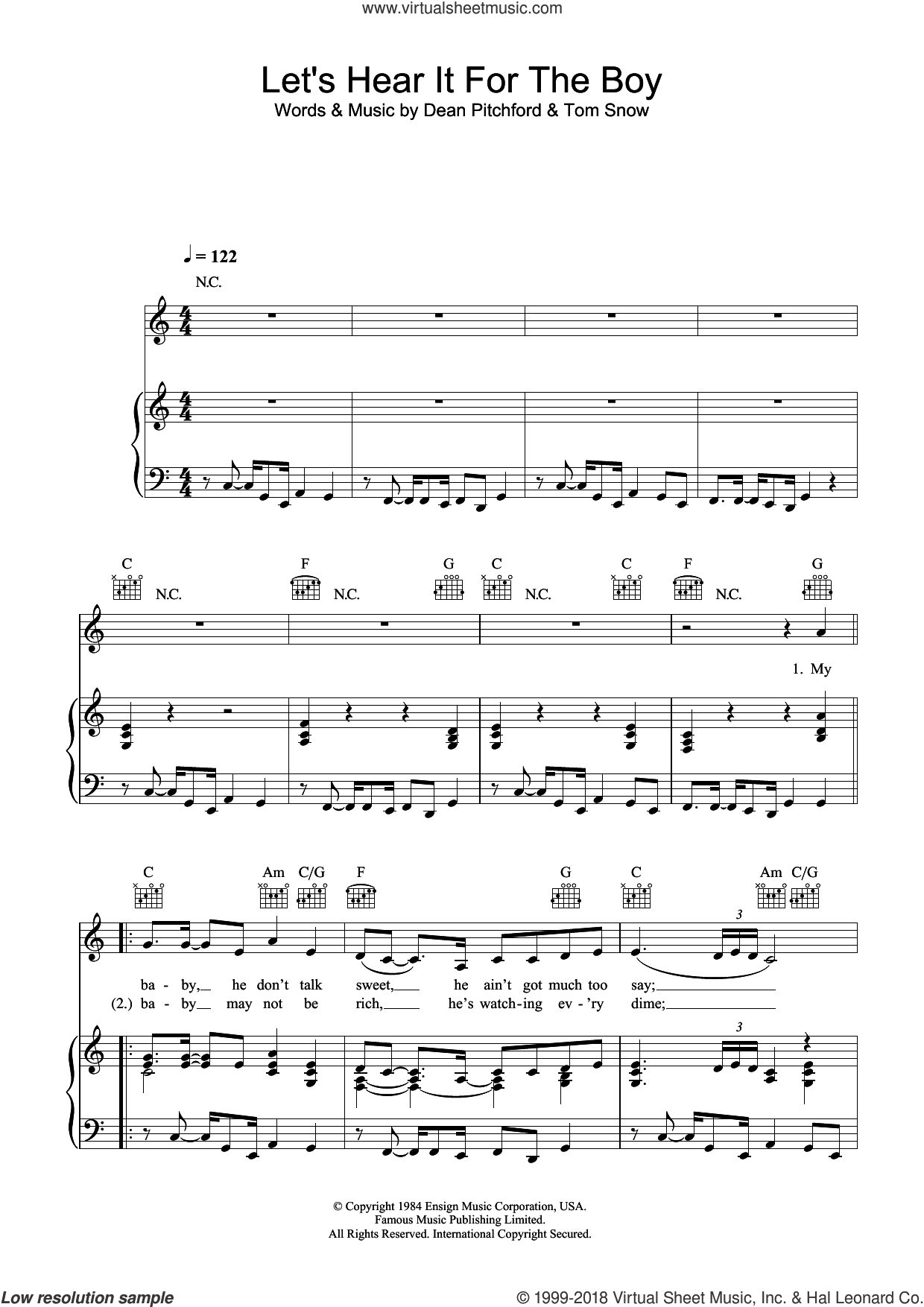 Let's Hear It For The Boy sheet music for voice, piano or guitar by Tom Snow and Dean Pitchford. Score Image Preview.