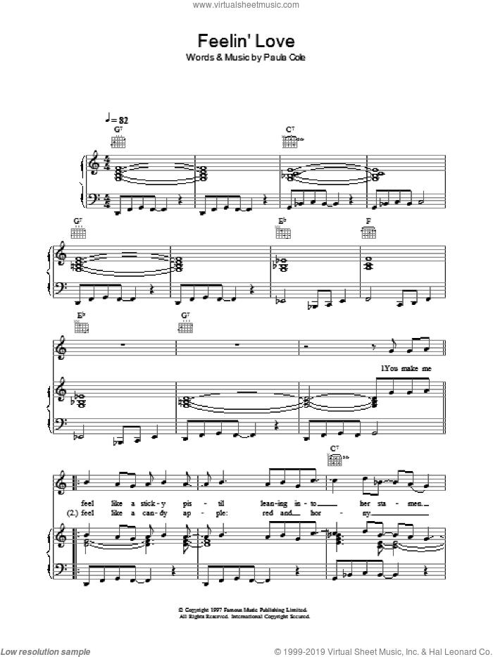 Feelin' Love sheet music for voice, piano or guitar by Paula Cole, intermediate skill level