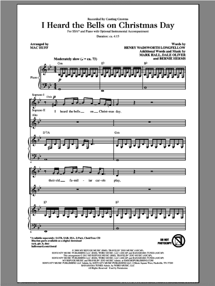 I Heard The Bells On Christmas Day sheet music for choir (soprano voice, alto voice, choir) by Mac Huff and Casting Crowns. Score Image Preview.
