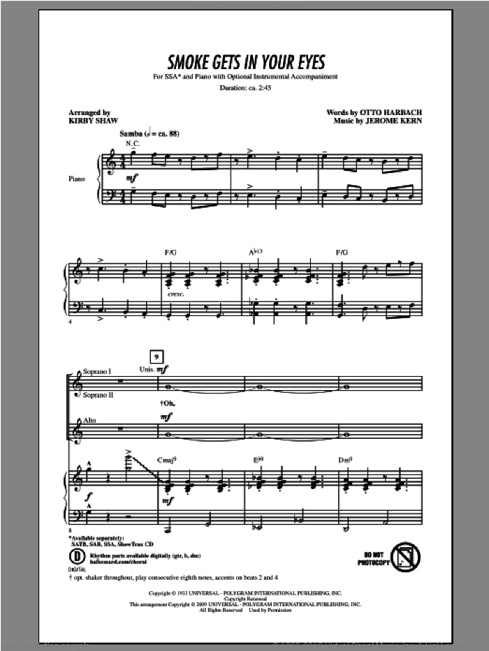 Smoke Gets In Your Eyes sheet music for choir (soprano voice, alto voice, choir) by Kirby Shaw. Score Image Preview.