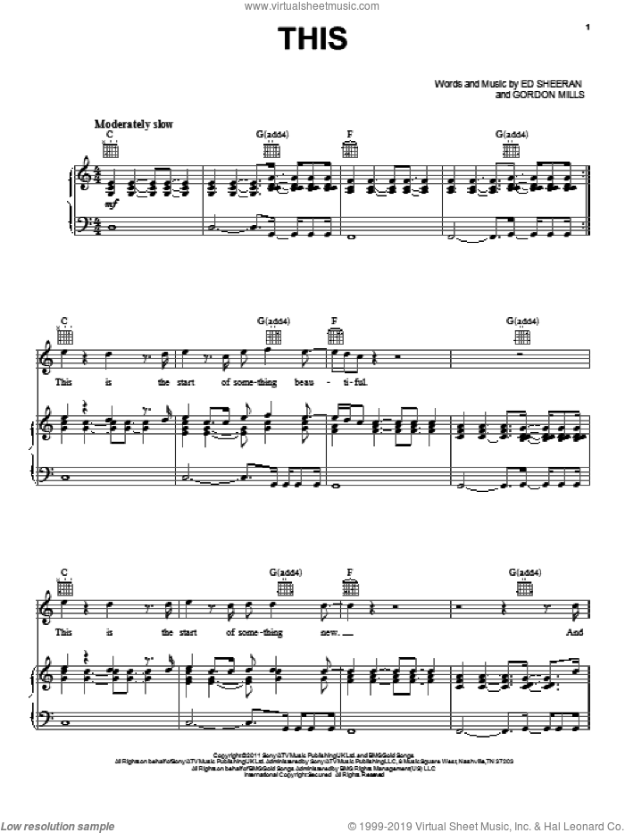 This sheet music for voice, piano or guitar by Ed Sheeran