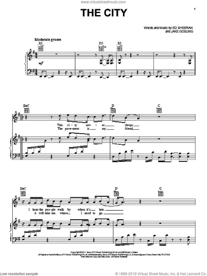 The City sheet music for voice, piano or guitar by Ed Sheeran, intermediate skill level