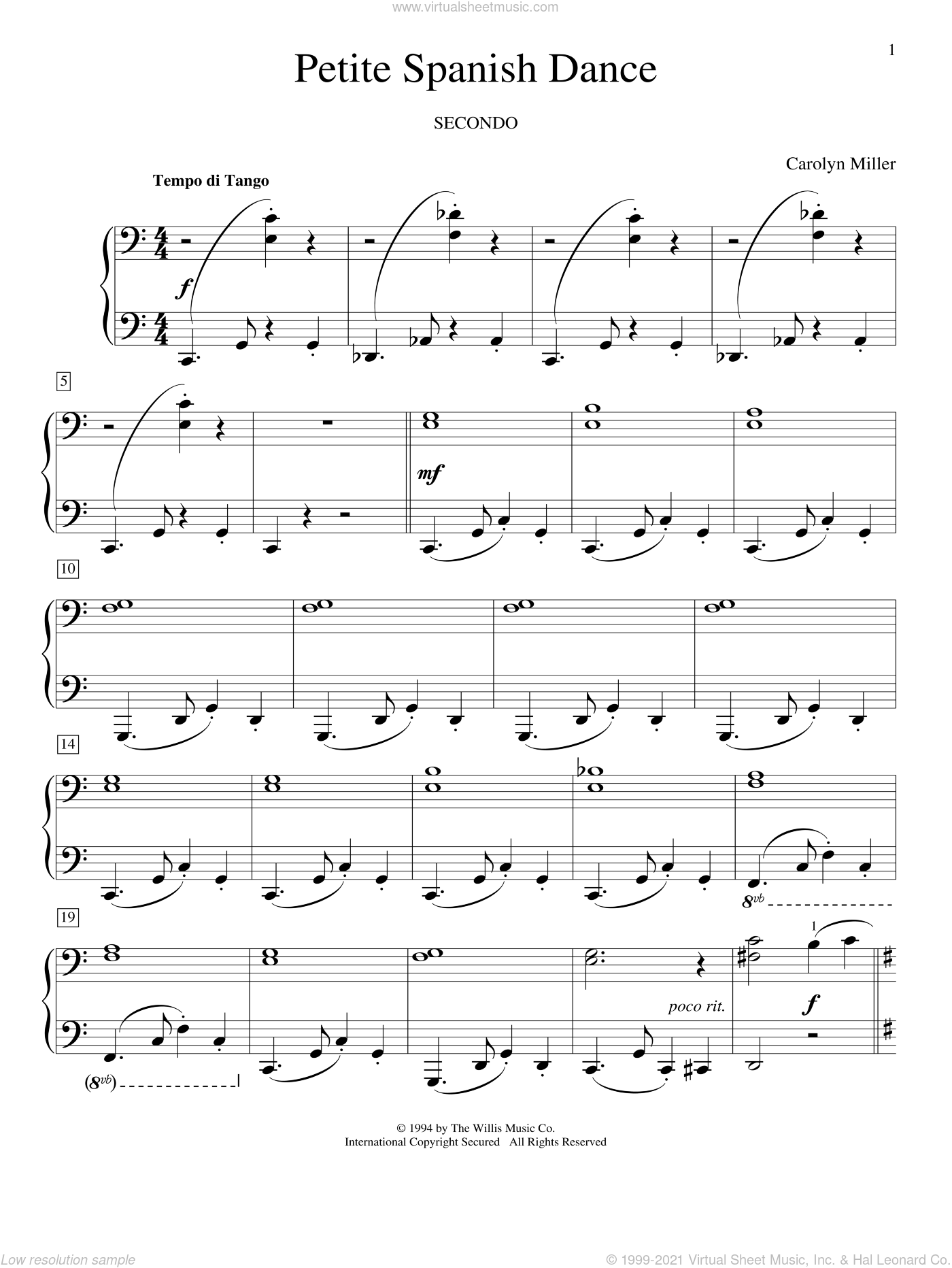 Petite Spanish Dance sheet music for piano four hands (duets) by Carolyn Miller, classical score, intermediate piano four hands. Score Image Preview.