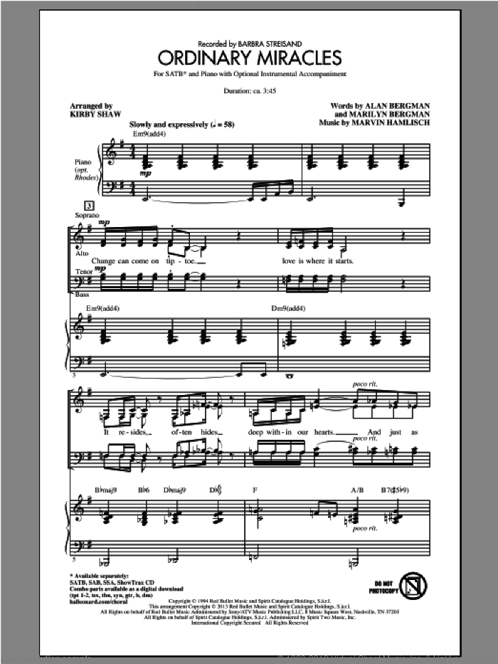Ordinary Miracles sheet music for choir (SATB: soprano, alto, tenor, bass) by Kirby Shaw and Marvin Hamlisch, intermediate skill level