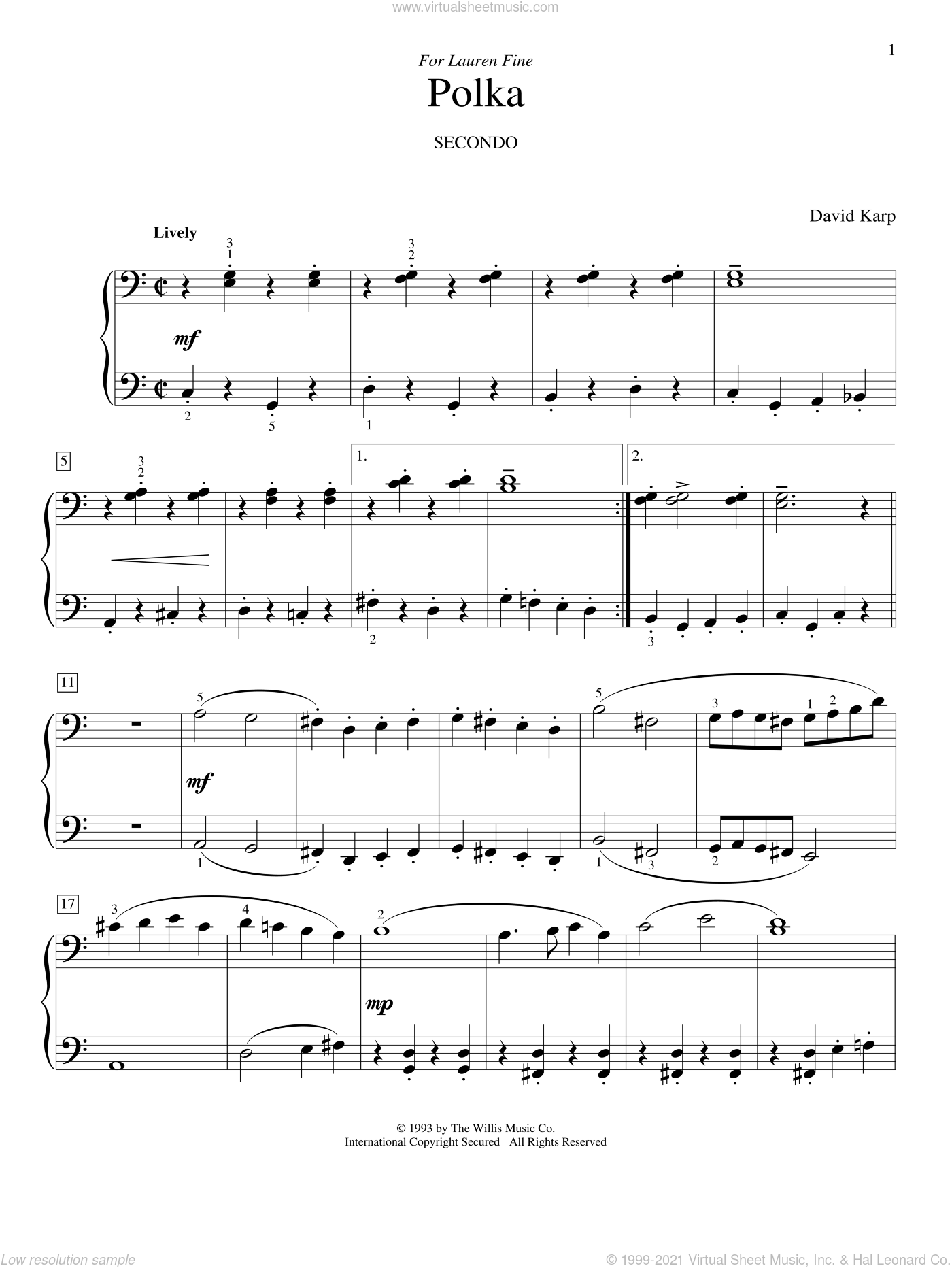 Polka sheet music for piano four hands (duets) by David Karp. Score Image Preview.