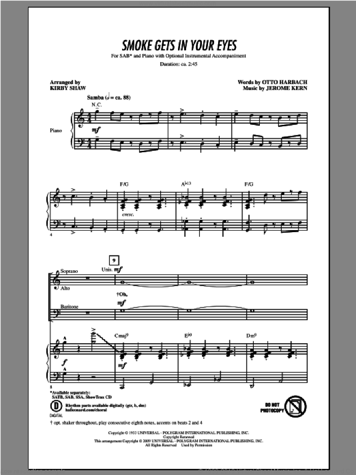 Smoke Gets In Your Eyes sheet music for choir (SAB: soprano, alto, bass) by Kirby Shaw, intermediate skill level