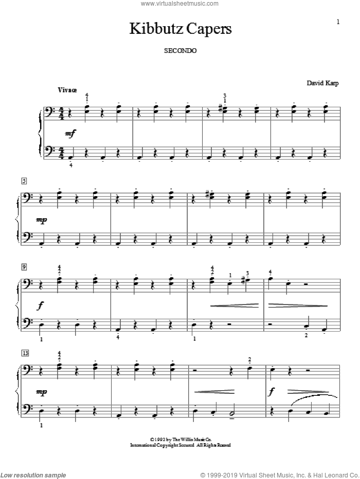Kibbutz Capers sheet music for piano four hands by David Karp, classical score, intermediate. Score Image Preview.