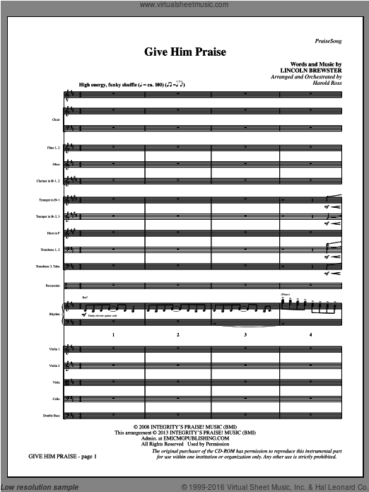 Give Him Praise (COMPLETE) sheet music for orchestra by Lincoln Brewster and Harold Ross. Score Image Preview.