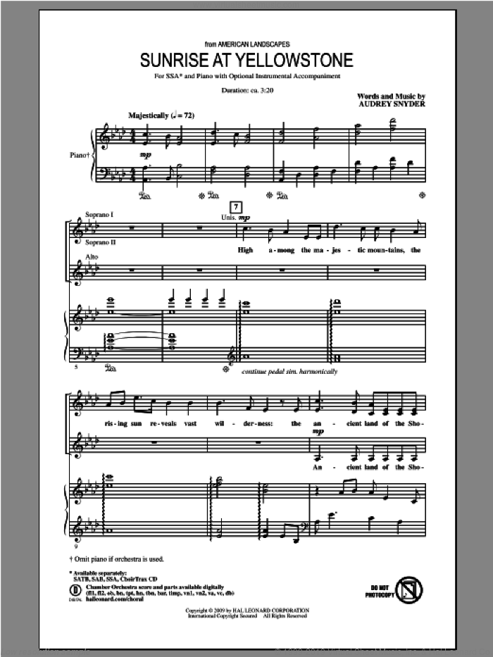 Sunrise At Yellowstone  (from American Landscapes) sheet music for choir and piano (SSA) by Audrey Snyder. Score Image Preview.