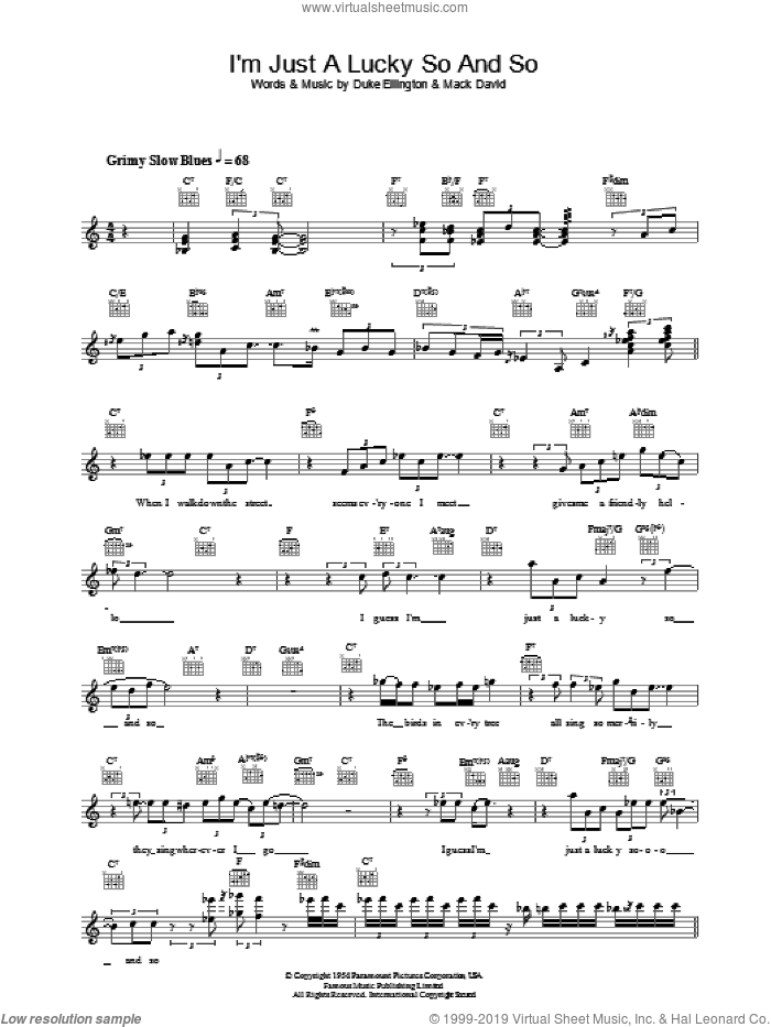 I'm Just A Lucky So And So sheet music for voice and other instruments (fake book) by Mack David
