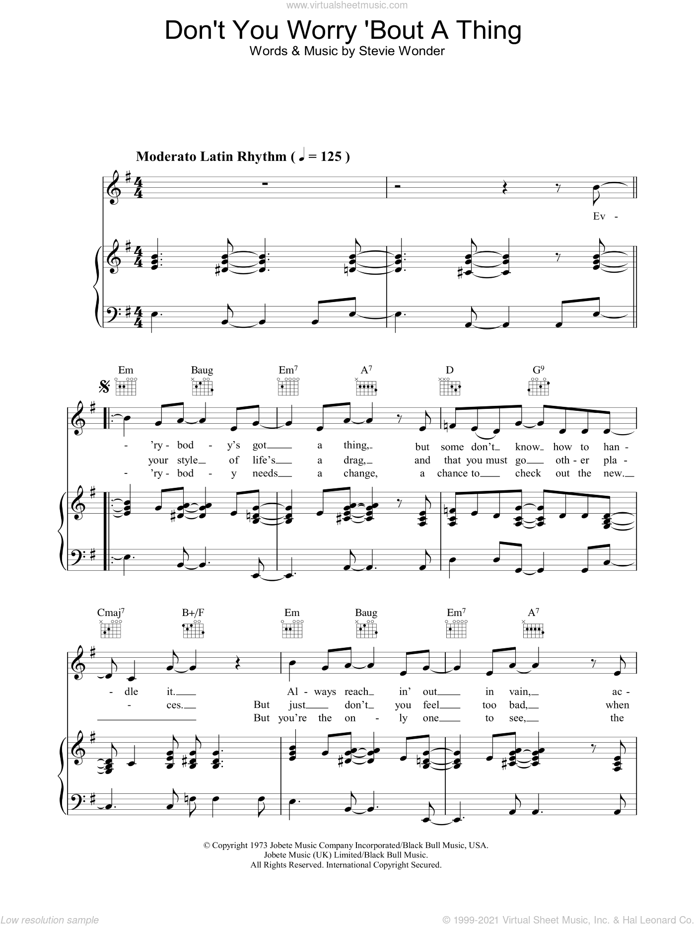 Don't You Worry 'Bout A Thing sheet music for voice, piano or guitar by Stevie Wonder