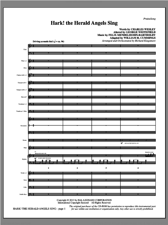 Hark! The Herald Angels Sing (COMPLETE) sheet music for orchestra/band by Felix Mendelssohn-Bartholdy and Richard Kingsmore, intermediate skill level