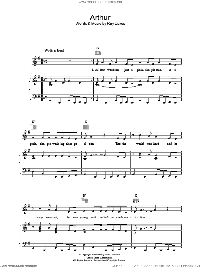 Arthur sheet music for voice, piano or guitar by The Kinks and Ray Davies, intermediate skill level