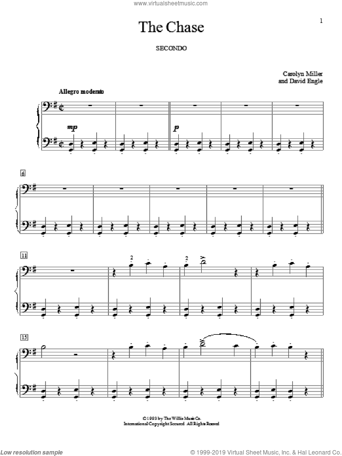 The Chase sheet music for piano four hands (duets) by Carolyn Miller, classical score, intermediate piano four hands. Score Image Preview.