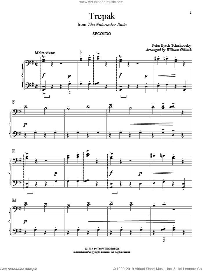 Trepak sheet music for piano four hands (duets) by Pyotr Ilyich Tchaikovsky and William Gillock. Score Image Preview.