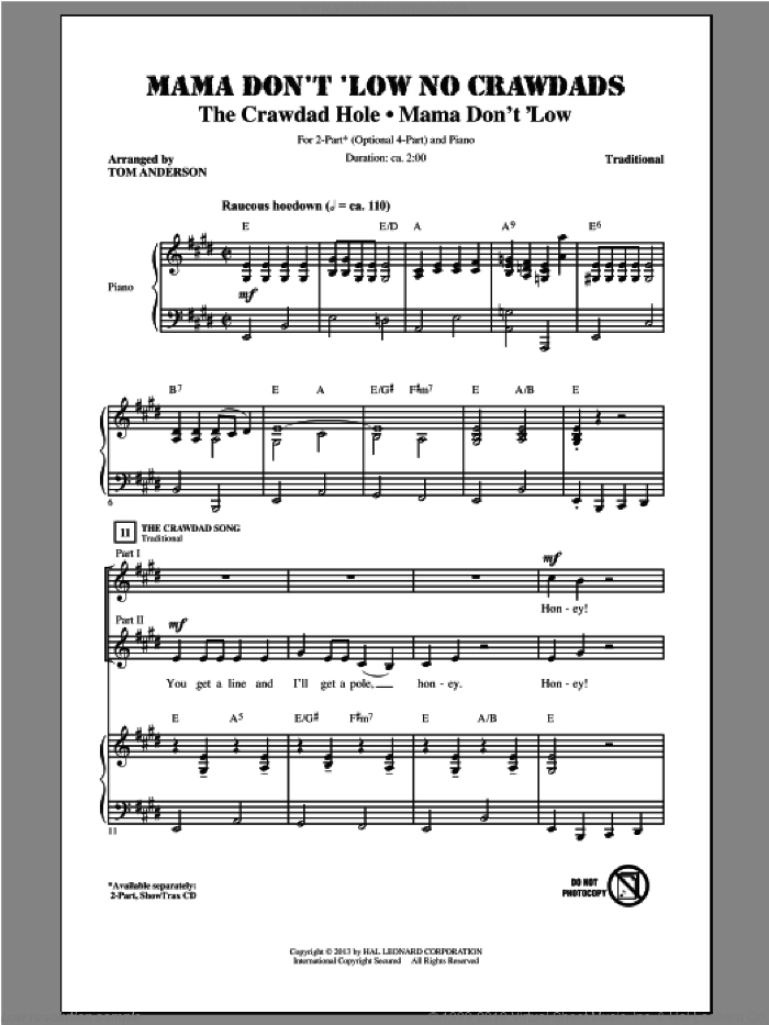 Mama Don't 'Low sheet music for choir (2-Part) by Tom Anderson, intermediate duet