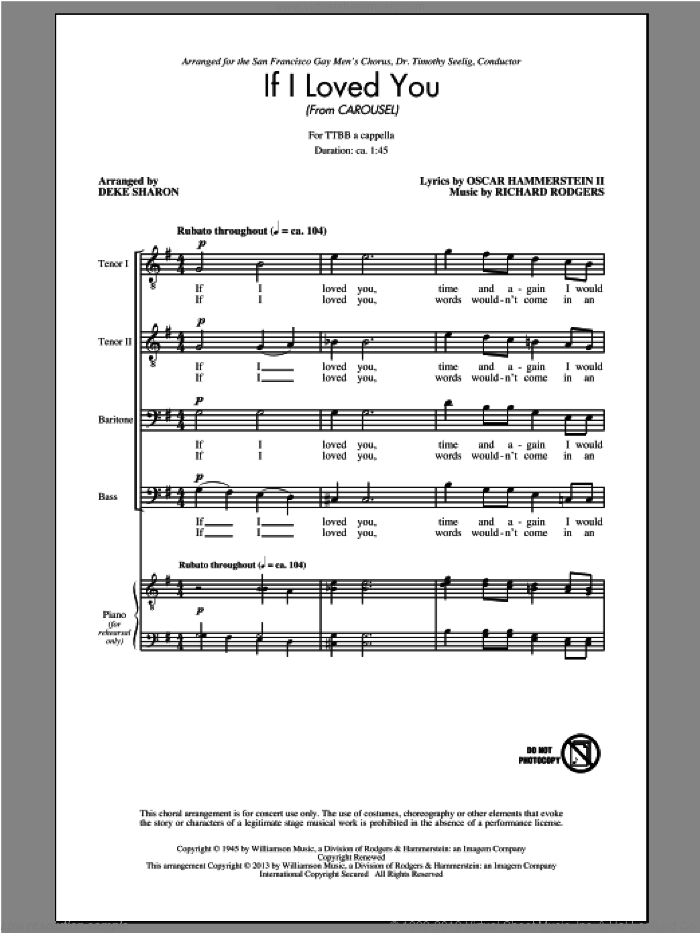 If I Loved You sheet music for choir (tenor voice, bass voice, choir) by Deke Sharon and Rodgers & Hammerstein. Score Image Preview.