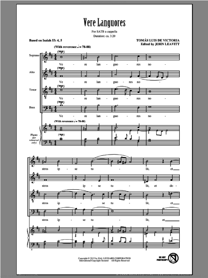 Vere Languores sheet music for choir (SATB: soprano, alto, tenor, bass) by John Leavitt and Tomas Luis De Victoria, intermediate skill level