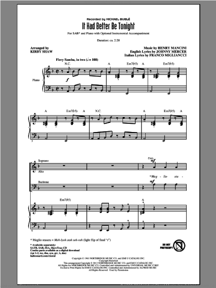 It Had Better Be Tonight sheet music for choir (SAB) by Henry Mancini, Kirby Shaw and Michael Buble. Score Image Preview.