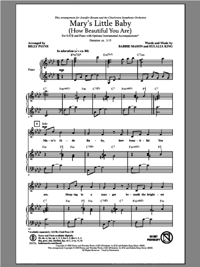 Mary's Little Baby (How Beautiful You Are) sheet music for choir and piano by Babbie Mason. Score Image Preview.