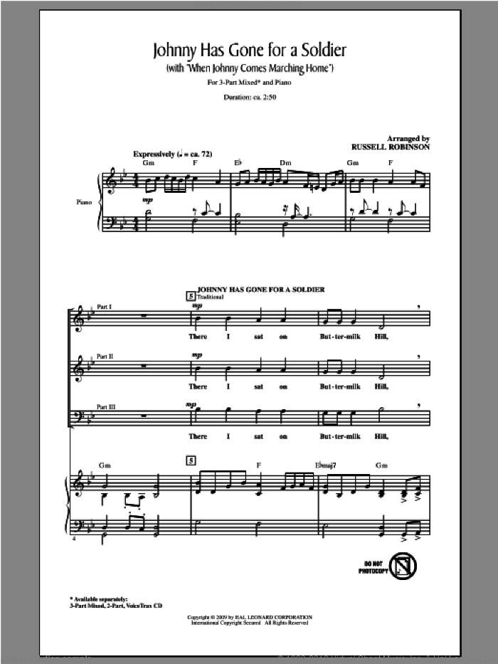 Johnny Has Gone For A Soldier (with When Johnny Comes Marching Home) sheet music for choir and piano (chamber ensemble) by Russell Robinson. Score Image Preview.