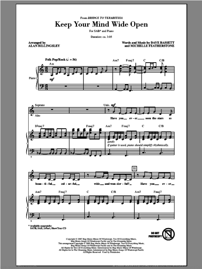 Keep Your Mind Wide Open sheet music for choir (SAB) by Alan Billingsley. Score Image Preview.