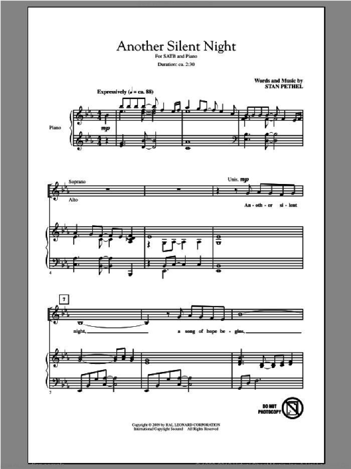 Another Silent Night sheet music for choir (SATB: soprano, alto, tenor, bass) by Stan Pethel, intermediate skill level
