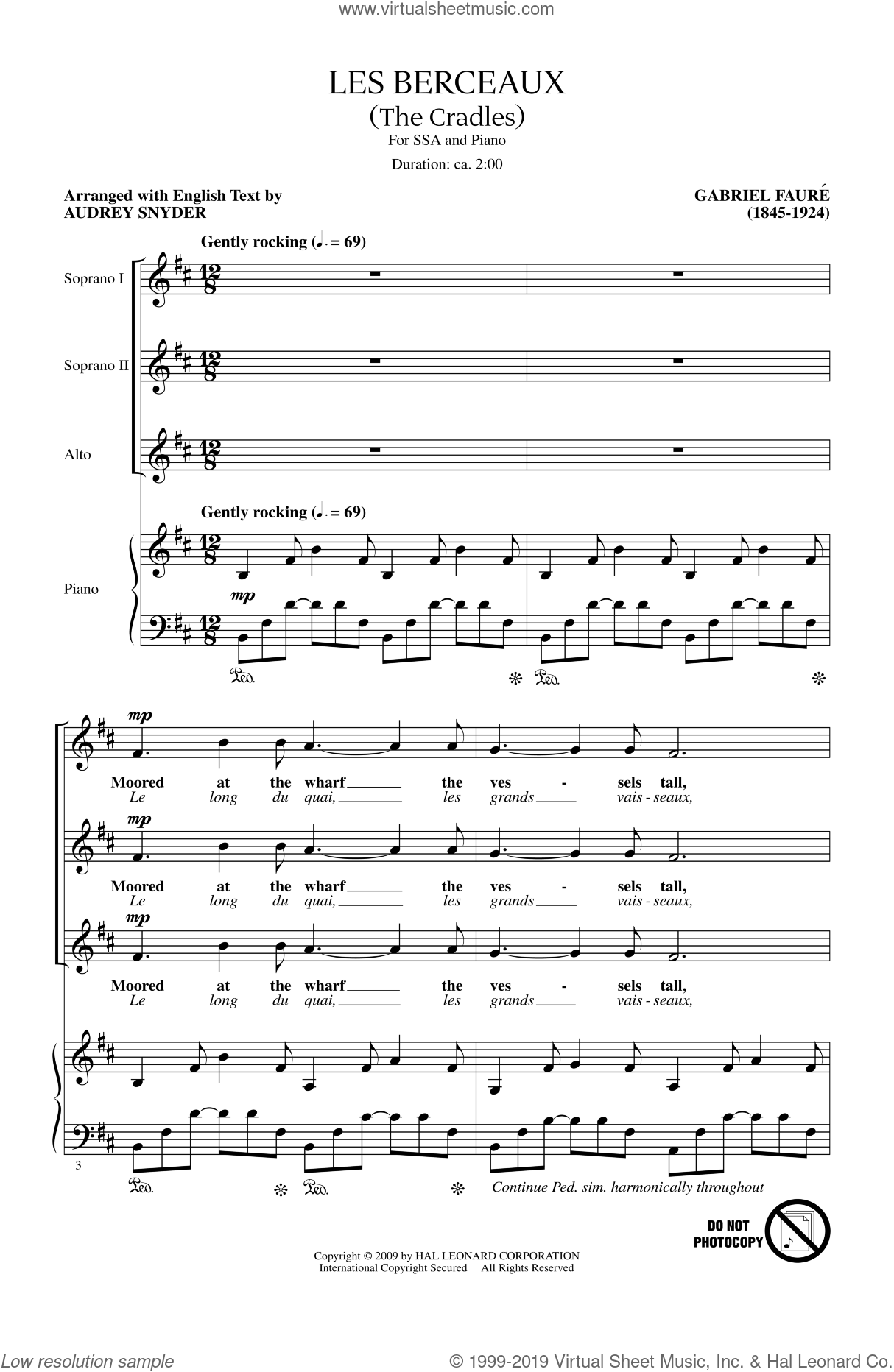 Les Berceaux (The Cradles) sheet music for choir and piano (SSA) by Gabriel Faure