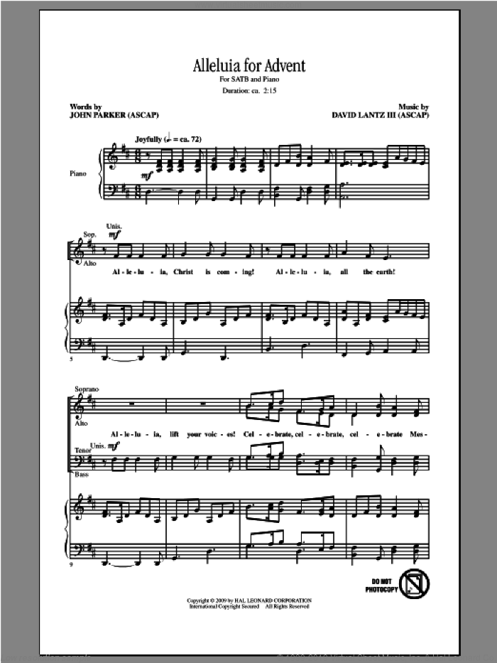 Alleluia For Advent sheet music for choir (SATB) by John Parker, Dan Davison and David Lanz. Score Image Preview.
