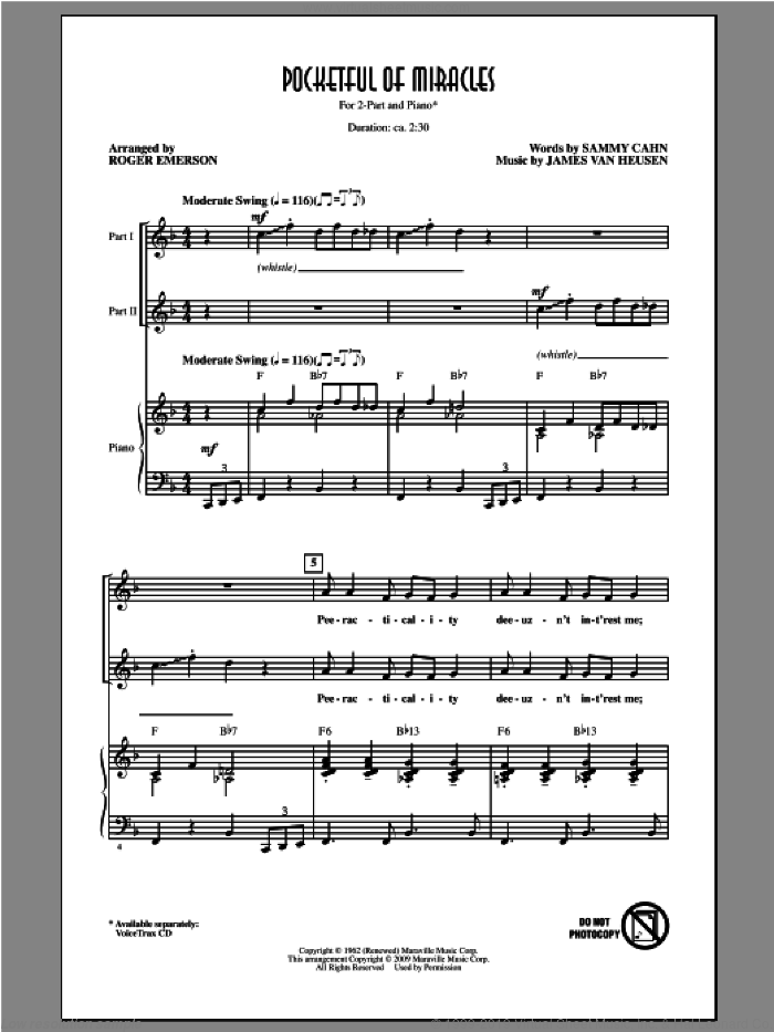 Pocketful Of Miracles sheet music for choir (2-Part) by Frank Sinatra and Roger Emerson, intermediate duet