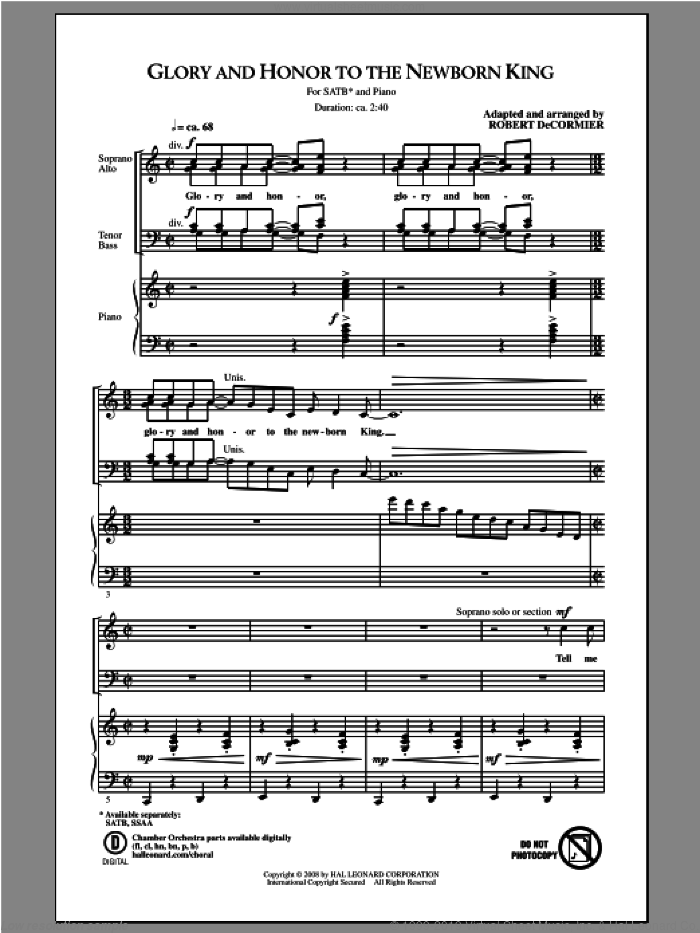 Glory and Honor To The Newborn King sheet music for choir (SATB) by Robert DeCormier. Score Image Preview.