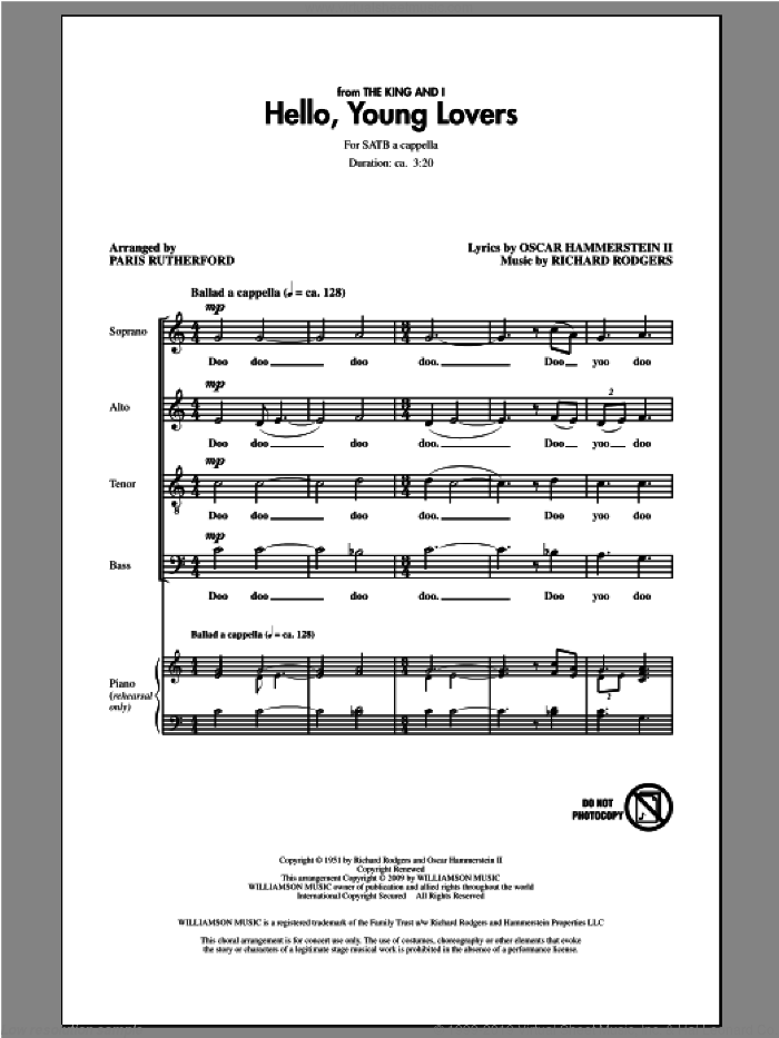 Hello, Young Lovers sheet music for choir (SATB: soprano, alto, tenor, bass) by Rodgers & Hammerstein and Paris Rutherford, intermediate skill level