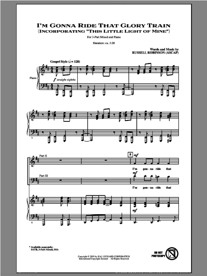 I'm Gonna Ride That Glory Train sheet music for choir (chamber ensemble) by Russell Robinson. Score Image Preview.