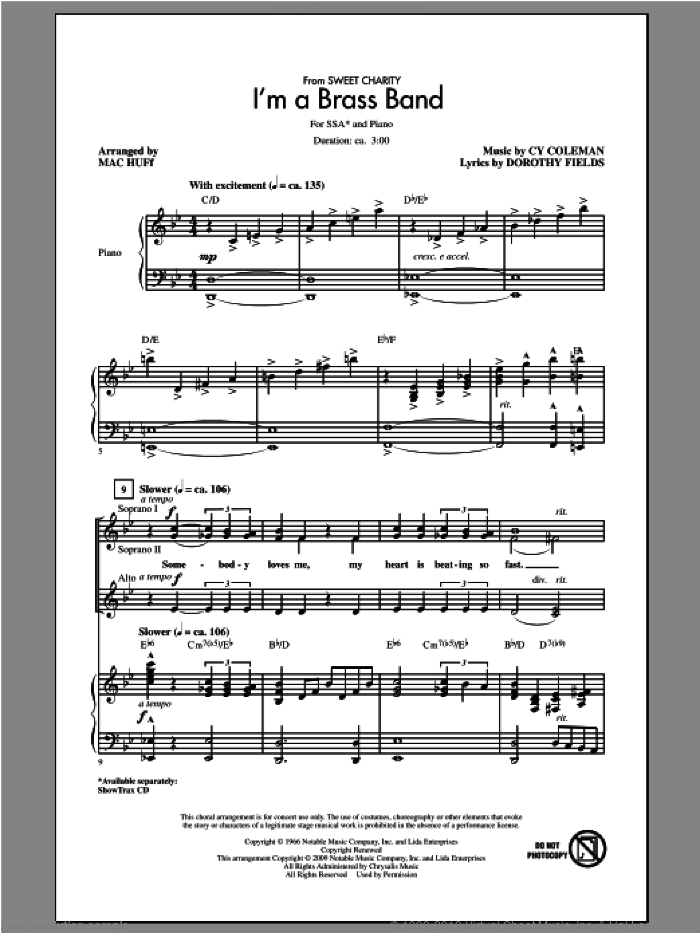 I'm A Brass Band (from Sweet Charity) sheet music for choir (SSA: soprano, alto) by Cy Coleman and Mac Huff, intermediate
