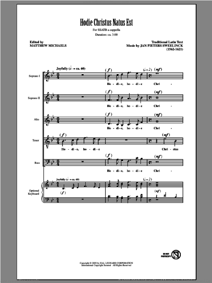 Hodie Christus Natus Est sheet music for choir (SATB: soprano, alto, tenor, bass) by Matthew Michaels, classical score, intermediate. Score Image Preview.