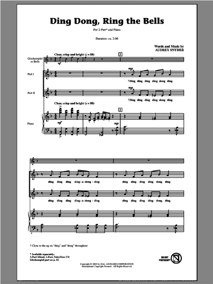 Ding Dong, Ring The Bells sheet music for choir (2-Part) by Audrey Snyder, intermediate duet. Score Image Preview.