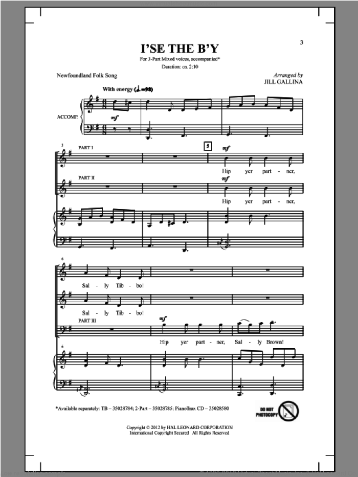 I'se The B'y sheet music for choir (chamber ensemble) by Jill Gallina. Score Image Preview.