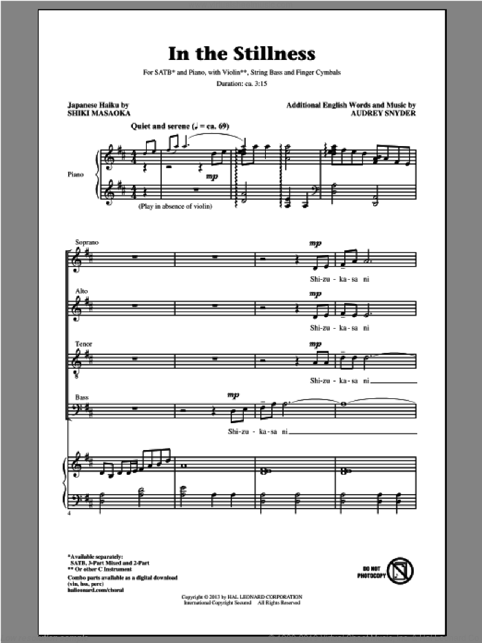 In The Stillness sheet music for choir (SATB: soprano, alto, tenor, bass) by Audrey Snyder, intermediate skill level