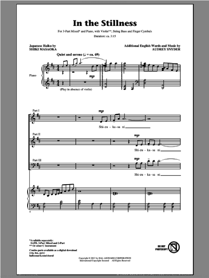 In The Stillness sheet music for choir (3-Part Mixed) by Audrey Snyder, intermediate. Score Image Preview.