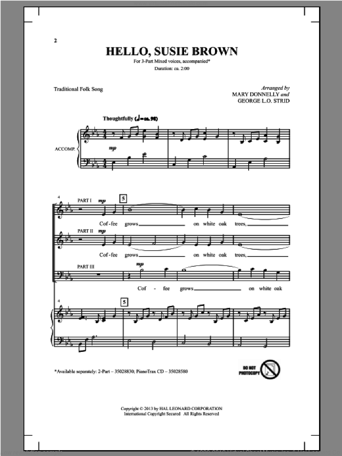 Hello, Susie Brown sheet music for choir (3-Part Mixed) by Mary Donnelly and George L.O. Strid, intermediate skill level