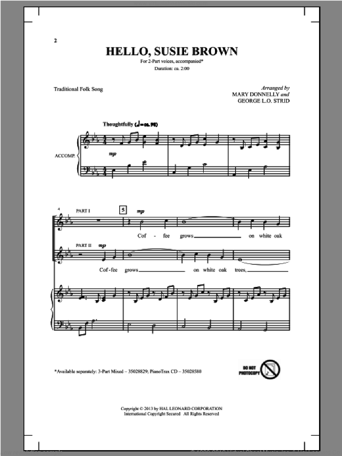 Hello, Susie Brown sheet music for choir (duets) by Mary Donnelly and George L.O. Strid. Score Image Preview.