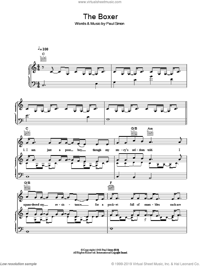 The Boxer sheet music for voice, piano or guitar by Paul Simon and Mumford & Sons. Score Image Preview.